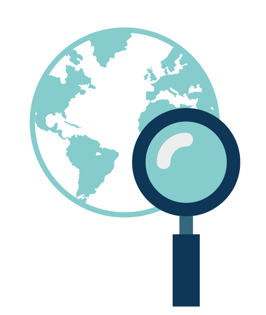 Globe and magnifying glass icon for worldwide patent search services